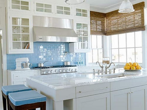 blue glass tile white kitchen inspiration