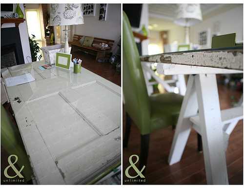 Diy desk an old door makes a great desk the inspired room - Make a table from an old door ...