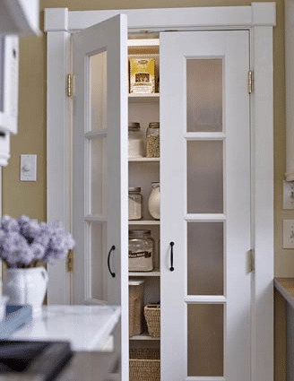 I love these french doors on this kitchen pantry