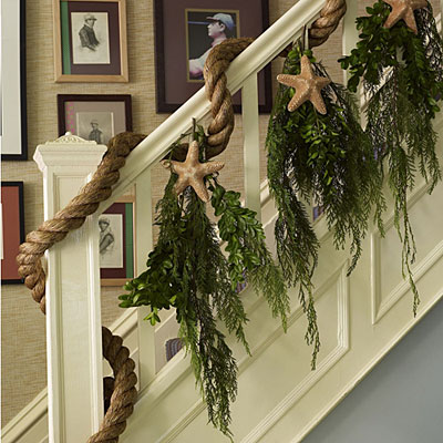 Diy coastal beach chic christmas decor the inspired room for Stair railing decorated for christmas