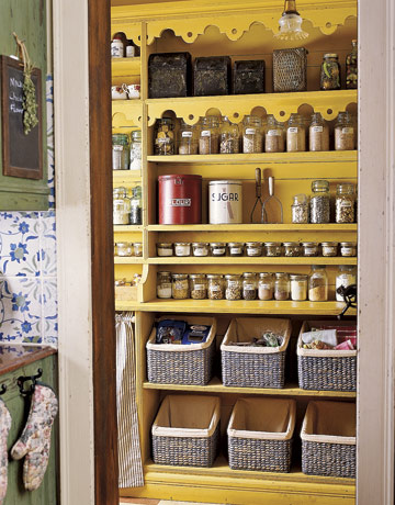 yellow kitchen pantry