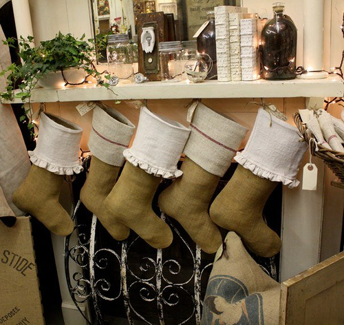 Grain Sack Ornaments & Stockings
