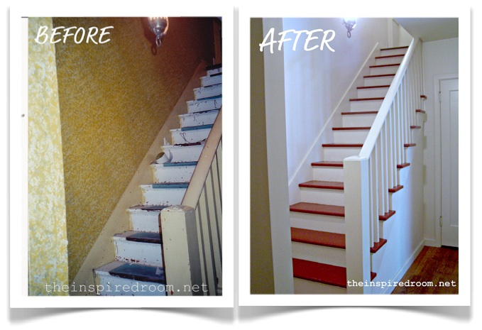 diy staircase makeover before after the inspired room