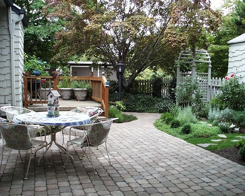back yard stone patio