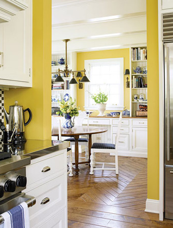 Inspired by sunshine yellow kitchen walls the What color cabinets go with yellow walls