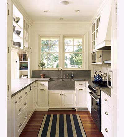 striped rug white kitchen