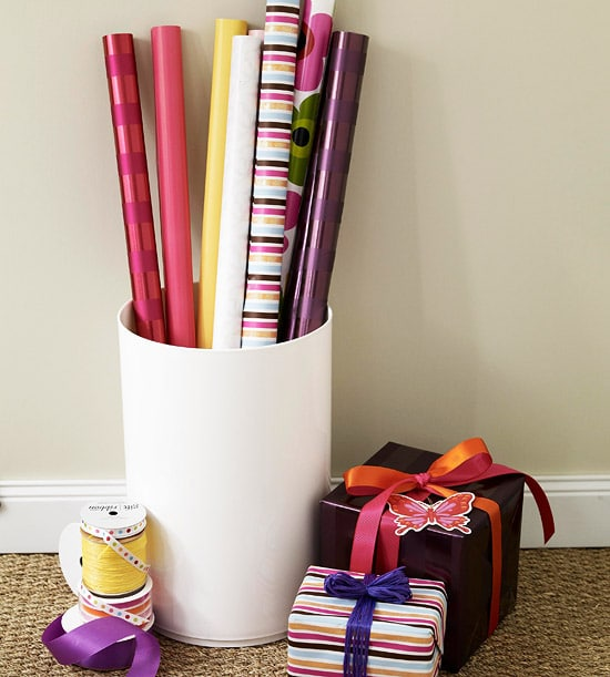 Gift Wrap Storage - Bucket for Small Space