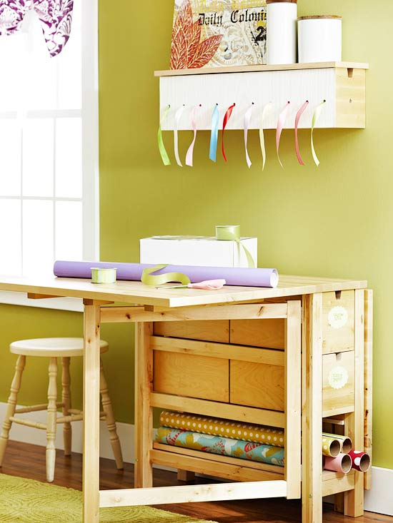 Gift Wrapping Table and Organization - Fold Up