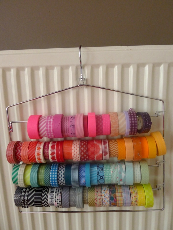 Washi Tape Organization on Pants Hanger