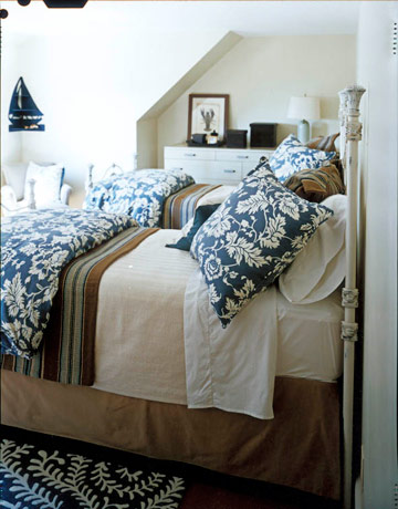 blue and tan house beautiful bedroom