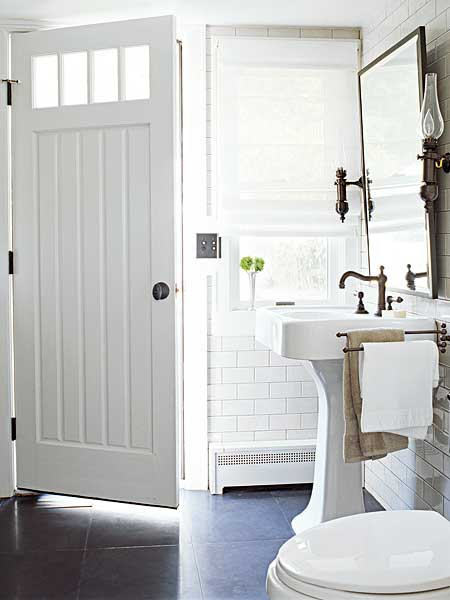 white pedestal sink door with window bathroom