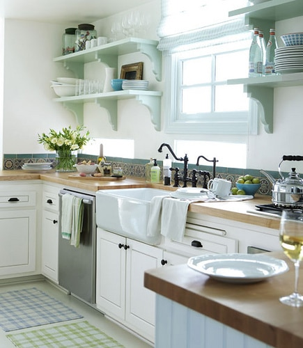 Plain White Country Cottage Kitchen With Sea Green Cabinets