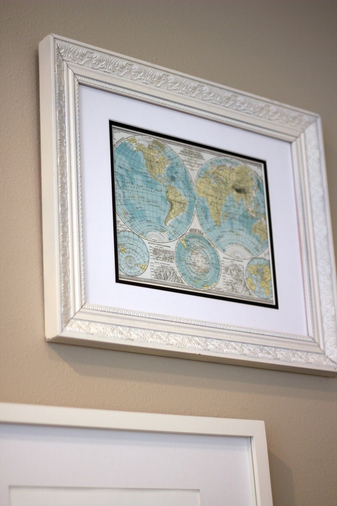 framed map wall