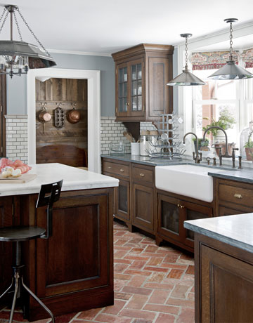 On Kitchen Dark Cabinets White Subway Tile Blue Gray Walls Brick Floor