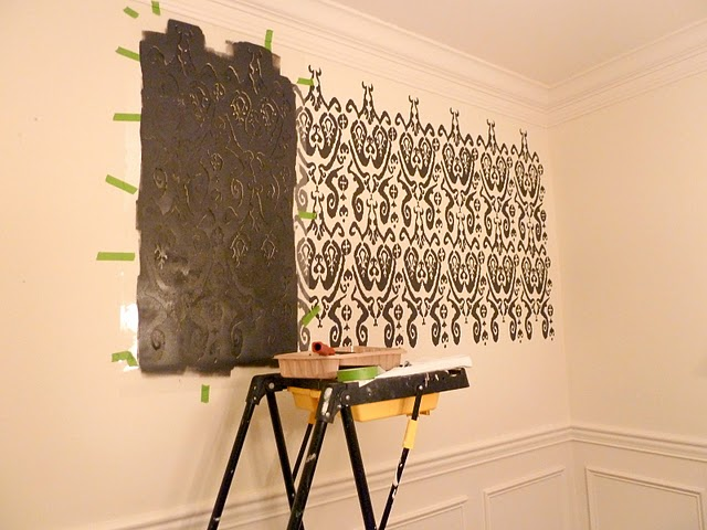 Stencils For Wall Decor : Diy how to stencil a wall our fifth house the inspired