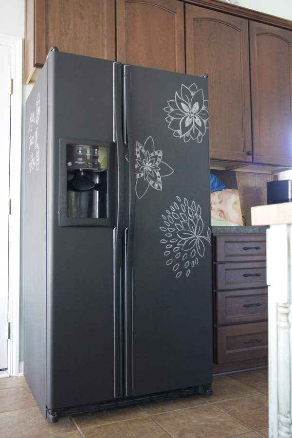 Chalkboard paint refrigerator pure lovely the for Chalkboard appliance paint