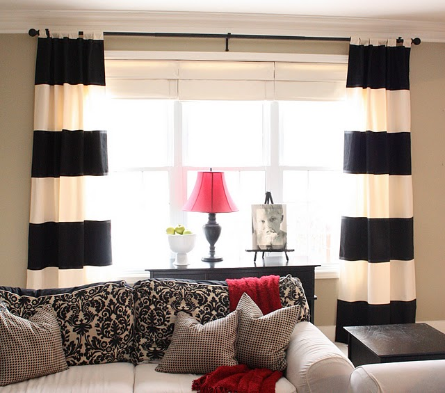 Diy black white striped curtains the yellow cape cod Bold black and white striped curtains
