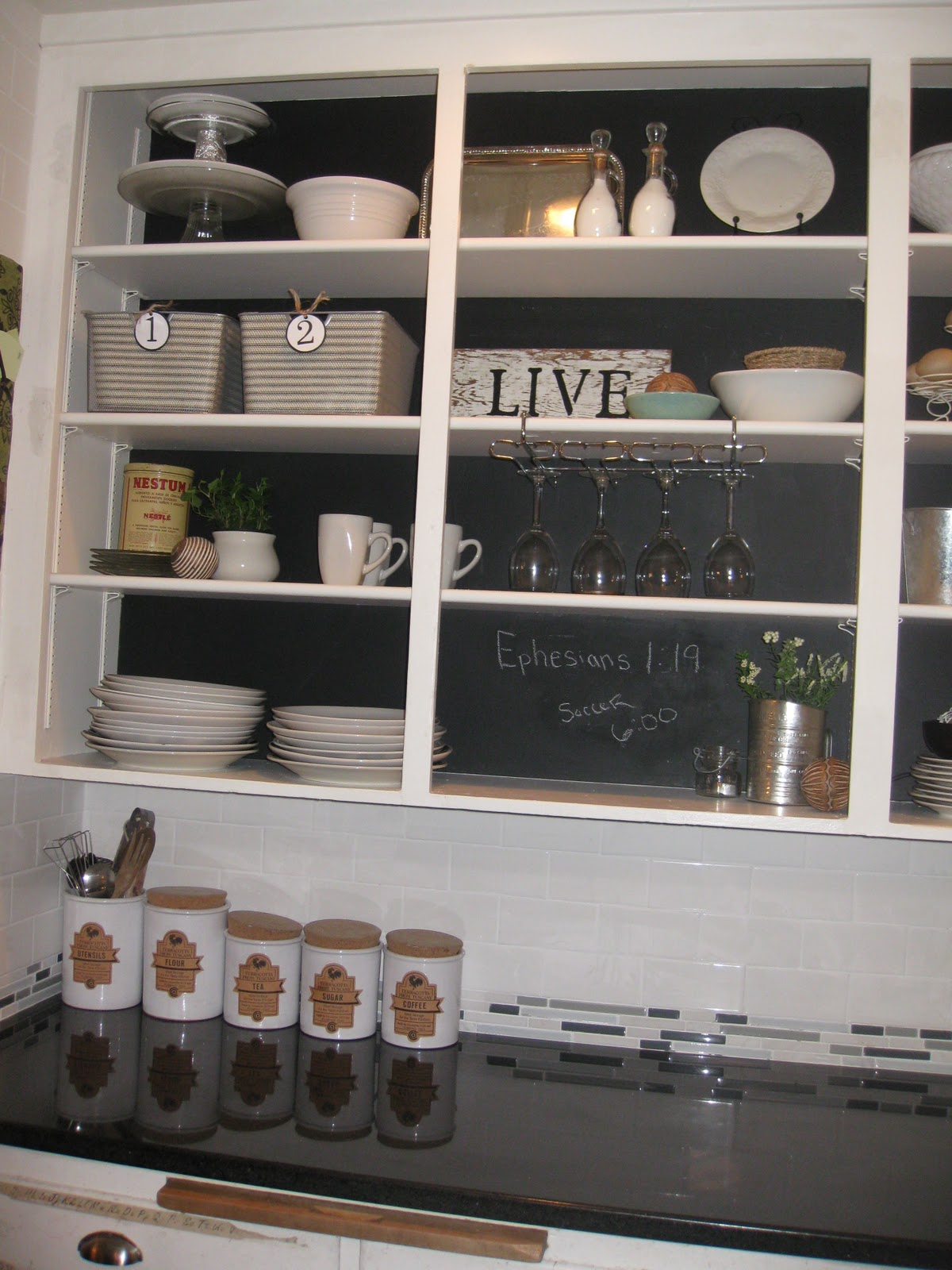 Diy chalkboard cabinets creatively living outside the box - Open shelving living room ...