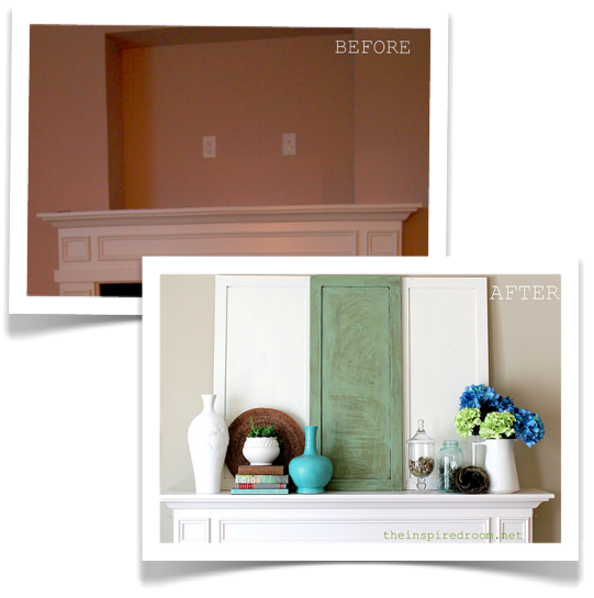 Before & After Mantel: Covering the TV Niche Above the Fireplace