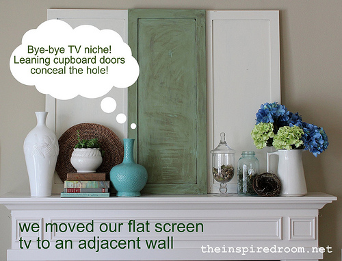 Swell Before After Mantel Covering The Tv Niche Above The Interior Design Ideas Oxytryabchikinfo