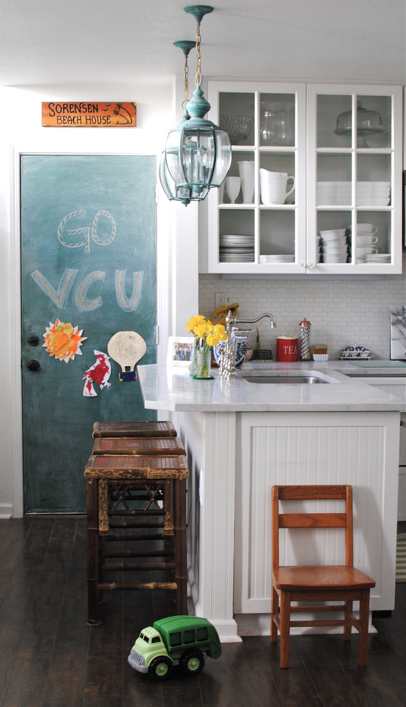 Pretty White Kitchen with Green Chalkboard Door {Grace Happens}