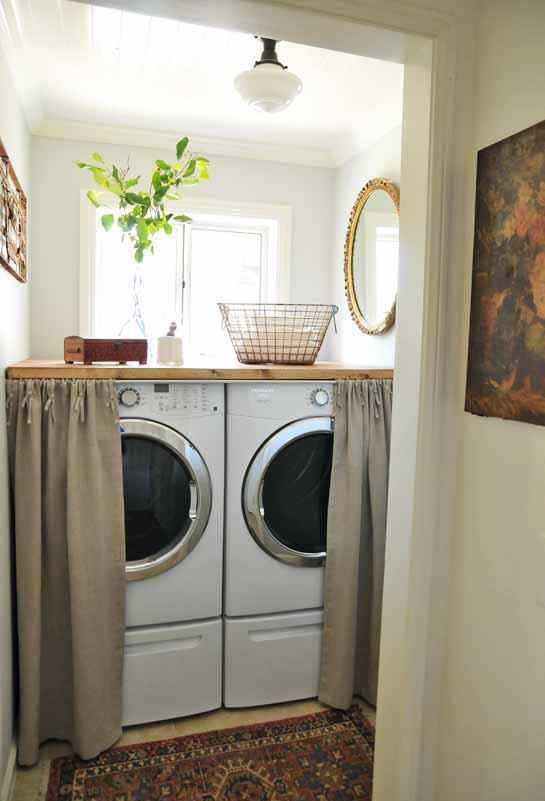 laundry room decorating in a small space. Black Bedroom Furniture Sets. Home Design Ideas