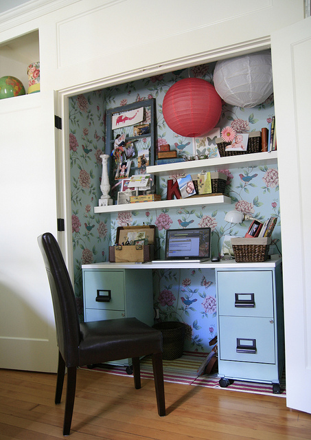 Room decorating before and after makeovers Closet home office design ideas