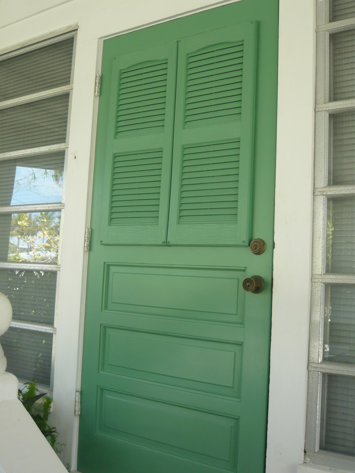 Front door screen makeover with shutters the inspired room for Screen doors for front door