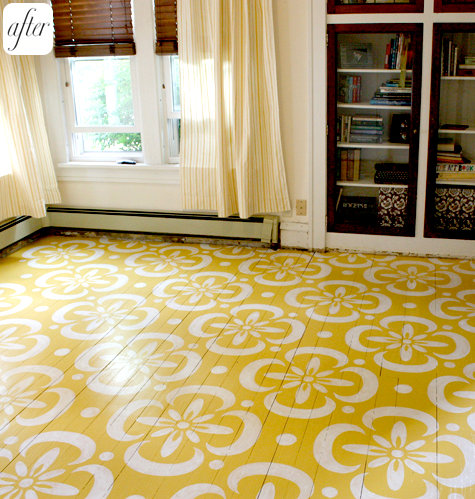 Painted hardwood floors paisley wallpaper the inspired for Painted hardwood floor ideas