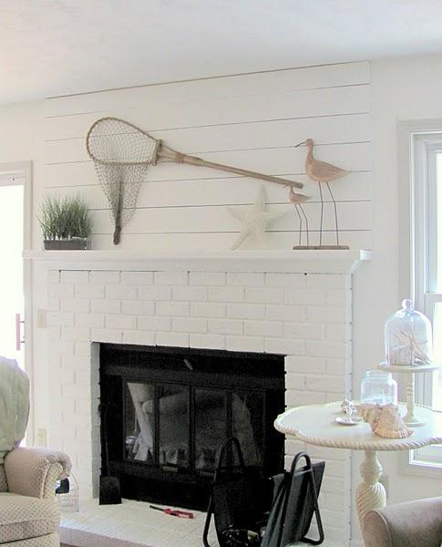 Herringbone Wood Wall Above Fireplace