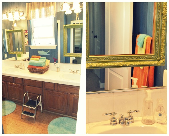 Bathroom Mirror Makeover quick diy bathroom mirror makeover {lisa leonard} - the inspired room