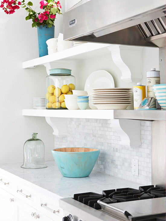Design caller selected spaces kitchen style open shelving Open shelving