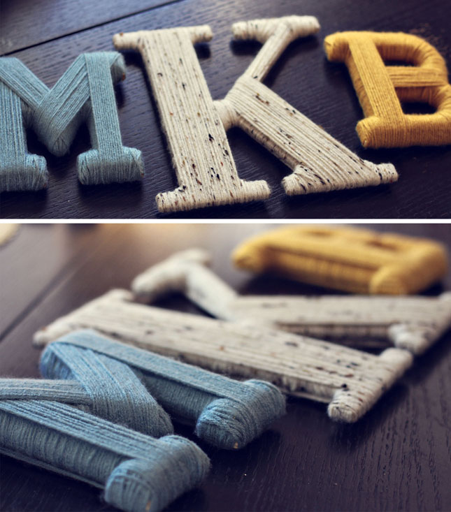 DIY Yarn-Wrapped Letter Craft {Let Birds Fly}
