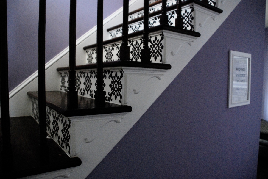 Vinyl decals on the stairs house thirty six