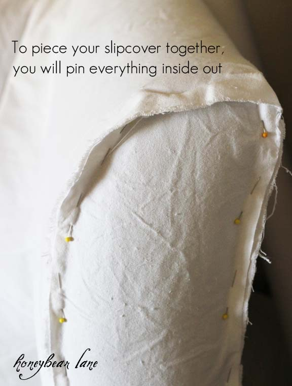 How to Make a Slipcover : slipcover from theinspiredroom.net size 576 x 759 jpeg 60kB