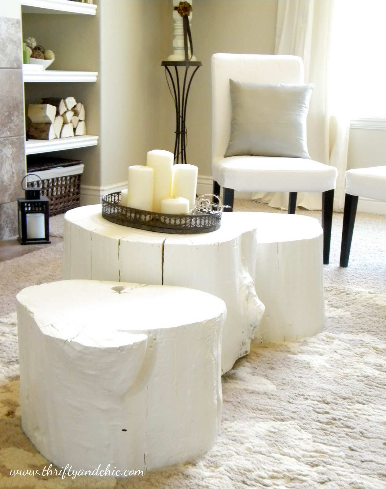 Diy Painted Tree Stump Coffee Table Thrifty And Chic