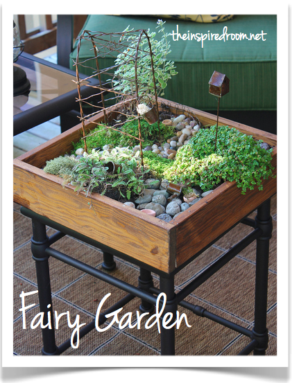 Miniature Table Top Garden with Stepables {My Fairy Garden}