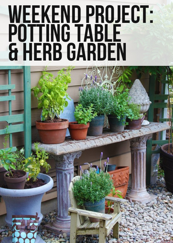 potting bench and herb garden