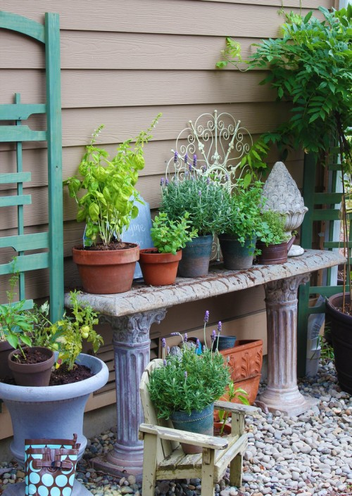 potting table idea herb and vegetable garden