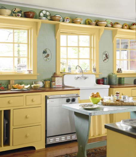 kitchen yellow cabinets