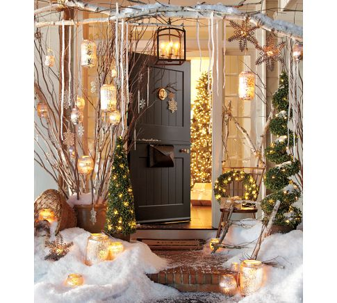 christmas decorating ideas outdoors via pottery barn