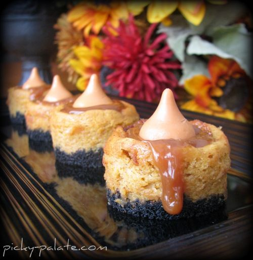 Inspired Holidays {Day 8}:: Weekend Treats: Black Bottom Mini-Caramel Pumpkin Cheesecake  Bites