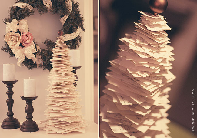Anthro Inspired Sheet Music or Book Page Christmas Tree {Wonder Forest}