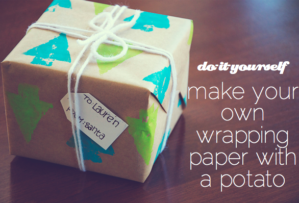 DIY Potato Stamp Wrapping Paper {The Perfect Pear}