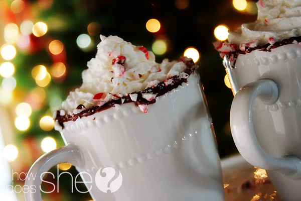 peppermint rimmed hot cocoa