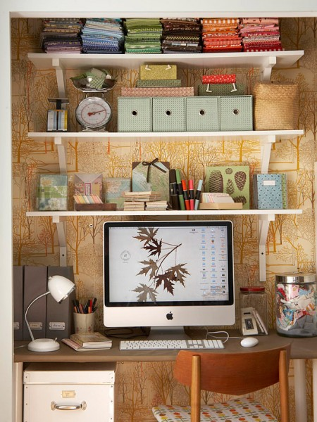 wallpapered cloffice