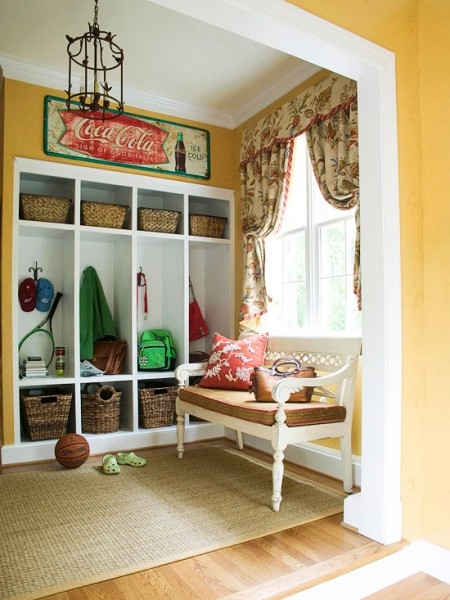 Mudroom, entry organization