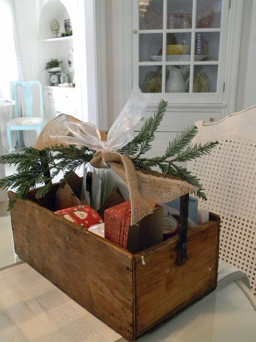 Gift idea vintage crate packaging the inspired room for Old wooden box ideas