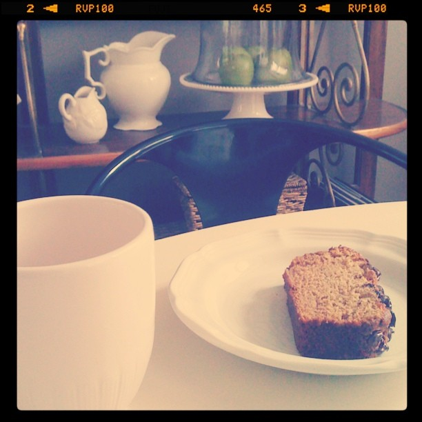 instagram of banana bread and coffee