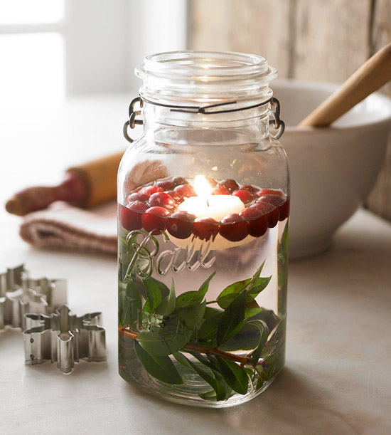 winter mason jar craft cranberries